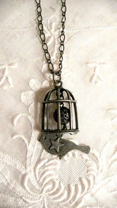 Silver Gunmetal Bird and Birdcage 24 inch by southernvintagerose, $14.00