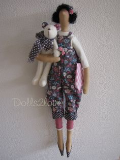Tilda doll Vicky wearing a lovely anthracite от Dolls2love на Etsy