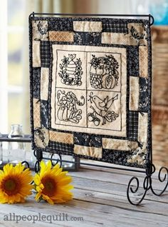 BlackWork Embroidered Quilt Project Featured in American Patchwork & Quilting, October 2014.