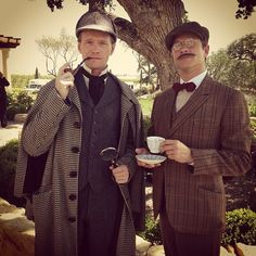 Neil Patrick Harris and David Burtka as Sherlock and Watson. I'm pretty sure they're the best Dads ever.