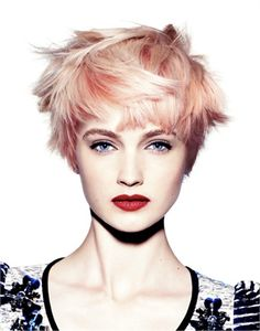Peachy toned pixie (this colour is also known as strawberry platinum) this colour is gorg