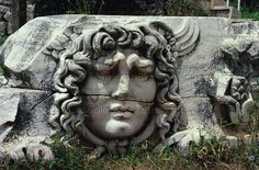 Apollo Temple at Didyma, Turkey. Medusa Gorgo head from the frieze. The temple at Didyma was designed by Greek architects Paeonios of Ephesos and Daphnis of Milet. Construction began around 313 BCE and lasted until 40 CE. 118.34 x 60.13 m   Archaeological Site, Didyma, Turkey