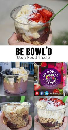 Be Bowl'd - a Utah food truck making acai bowls with fresh fruit and granola. Baked Breakfast Recipes, Breakfast Buffet, Breakfast Bowls, Muesli, Granola, Vegan Food Truck, Food Trucks, Fruit Recipes, Smoothie Recipes