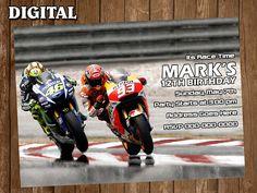 Moto GP Racing Digital Party Invitation Custom Personalized