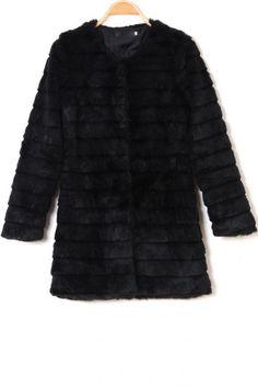 Luxurious Black Faux Fur Coat OASAP.com