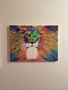 Lion and Mane acrylic canvas painting by ConeCoutureCreations
