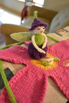 Knit fairy on leaf, adorable for a little girl i know!