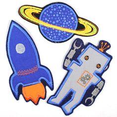 Roboter, Rakete und Planet Im Set als Applikationen