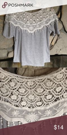 Gray T Shirt dolman sleeve w/white Lace Light gray short dolman sleeve T shirt , has very pretty white lace on the whole top of shirt- front and back. Hardly worn, from smoke free home.  There's no tag for brand/size quite sure it's Juniors M. Tops Tees - Short Sleeve