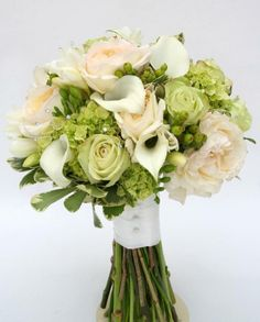Green Hydrangea Wedding Bouquet. The green details would go well with the fuchsia color!