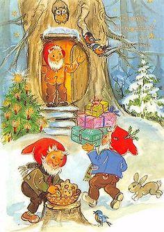 AK Zwerge Gnome mit Geschenke Tannenbaum Weihnachten Postkarte