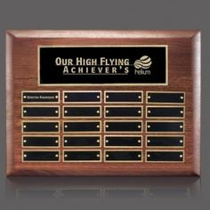 Promotional Products Ideas That Work: Sedgewick Perpetual Plaque - Walnut 20 Plate. Get yours at www.luscangroup.com