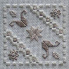 Fabric: 25ct ivory Lugana<br />Threads: DMC perle #5 & #8 & stranded cotton (712, 841, 842)