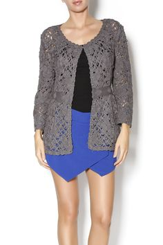 Crochet floral knit cardigan with defined waist. This feminine cardigan will look super cute with a denim skirt and little booties.   crochet cardigan by miila. Clothing - Sweaters Chicago, Illinois