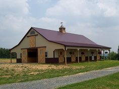 Pylesville md metal barn with lean-tos Metal Horse Barns, Metal Barn Homes, Metal Building Homes, Pole Barn Homes, Metal Roof, Building A House, Pole Barns, Building Ideas, Pole Barn House Plans