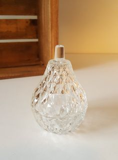 Vintage Glass Lidded Dish Pear Shaped Glass Jar by Retro Vintage, Vintage Items, Italy Country, Pressed Glass, Diamond Pattern, Pear Shaped, Glass Jars, Perfume Bottles, Sparkle