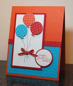 handmade birthday/celebration card from Live, Laugh, and Stamp with Karen: Oh so clever Balloons!! ... luv this basic design as a go-to  card quick and easy to adapt for favorite colors or other celebrations ... one matted panel with circle balloons, hand drawn string, little bow ... matted circle with sentiment ... textured or patterned paper layer on bottom half of the card ... ribbon or paper strip to hide the line ... great design! ... Stampin' Up!