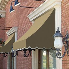 Awntech Beauty-Mark Nantucket 40 x Crescent-Shaped Awning with Projection - BJ's Wholesale Club Estilo Colonial, Bjs Wholesale, Window Awnings, Patio Awnings, Sun Awnings, House Awnings, Terracota, Outdoor Living, Outdoor Decor