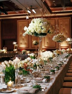 love the green and white minus the ramitas in the tall arrangement Table Arrangements, Table Centerpieces, Wedding Centerpieces, Wedding Table, Floral Arrangements, Centrepieces, Wedding Ideas, Reception Decorations, Table Decorations