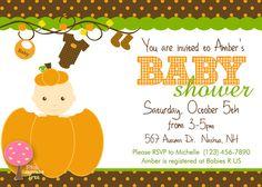 Pumpkin Baby Shower Invitation, Pumpkin Baby, Customized Invite, Gender Neutral, Autumn Baby Shower on Etsy, $12.00