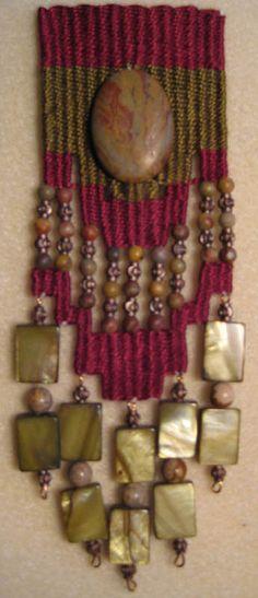 Agate by Sapphire_Dakini, via Flickr Fiber Art Jewelry, Textile Jewelry, Fabric Jewelry, Jewelry Art, Beaded Jewelry, Jewellery, Pin Weaving, Tapestry Weaving, Loom Weaving