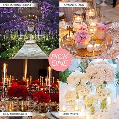 Your pick: Which is your dream wedding color theme? #colincowie #CCCelebration #ido #vows #love #engaged #inspiration #weddingdecor #wedding #quiz #purple #red #pink #white