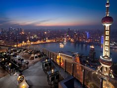 Discover the best views—and drinks—in Shanghai on the summit of the Ritz-Carlton Shanghai, Pudong, 58 floors above the bustling metropolis and overlooking the Huangpu River, the Bund, and the evolving skyline (punctuated most notably by the futuristic Oriental Pearl Radio