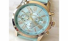 Geneva Luxury Crystal Rhinestones Gold Women Ladies Leather Watch Mint Green A classic and timeless style that is always on demand. Perfect for women who prefer to keep it simple and elegant. Perfect for everyday wear or for special occasion. lt (Barcode EAN = 0619955825066) http://www.comparestoreprices.co.uk//geneva-luxury-crystal-rhinestones-gold-women-ladies-leather-watch-mint-green.asp