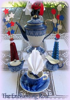The Enchanting Rose: Red, White, and Blue Tea Time