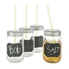Home Essentials Mason Jar Drink Set, 4-Piece at Big Lots.
