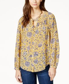 Lucky Brand Printed Button-Down Peasant Shirt