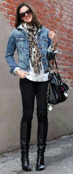 denium jacket, white shirt, leopard scarfe