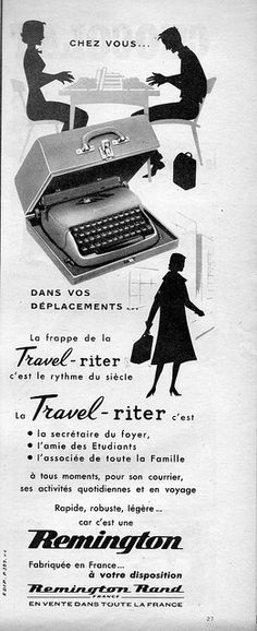 1950s-1958 ad for Remington travel-writer