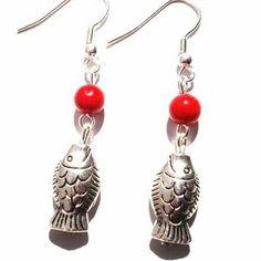 Silver lucky fish earrings #jewlerly #asharlah