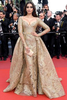 Sonam Kapoor in a gilded Elie Saab gown