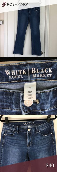 White House black market boot cut jeans 6S White House Black Market stretch boot cut jeans. They are in very good used condition. Selling these for my mom, she's downsizing her closet too. Size 6S, these are major high waters on me. ☺️ some areas of wear, as shown in detail photos. Smoke free, cat friendly home. These have been freshly laundered. White House Black Market Jeans Boot Cut