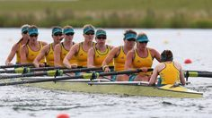 Hannah Vermeersch, Renee Chatterton, Robyn Selby Smith, Sarah Cook, Tess Gerrand, Alexandra Hagan, Sally Kehoe, Phoebe Stanley and Elizabeth Patrick of Australia compete in the first heat of the women's Eight at Eton Dorney.