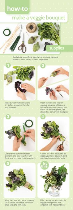 How-to make a veggie bouquet #centerpiece #diy