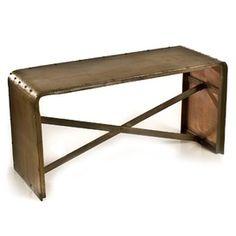 Charmi Sofa Table in Antique Brass