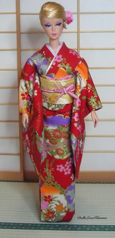 Excited to share the latest addition to my #etsy shop: doll clothes Barbie fashion red kimono set handmade http://etsy.me/2Endinc #toys #red #purple #dollkimono #dollclothes #japankimono #miniaturekimono #barbieclothes #barbiekimono