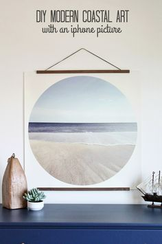 DIY Modern Coastal Art-how to make a print like this. It is so EASY! FREE PRINT!