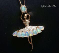 Opal Necklace, Genuine Flash Ethiopian Opal Pendant, Ballet Dancing Girl Necklace, Rose Gold CZ Necklace, Dancer Jewelry, YN039