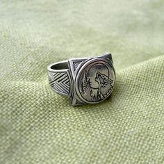 Fenrir Wolf Ring. Wolf ring Sterling Silver Wolf ring. от RuyaN