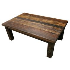 Add a natural touch to your living room or home library with this reclaimed wood coffee table, showcasing a planked design for rustic appeal.