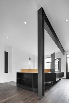 Drolet Residence by Naturehumaine in main architecture Category Contemporary Interior, Modern Interior Design, Interior Design Kitchen, Interior Decorating, Steel Columns, Steel Beams, Architecture Design, Plafond Design, Home Deco