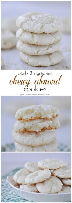 Chewy Almond Cookies - Only three ingredients: almond paste, sugar, and eggs. Galletas Cookies, No Bake Cookies, Yummy Cookies, Cookies Et Biscuits, Yummy Treats, Sweet Treats, Keto Cookies, Chip Cookies, Baking Cookies