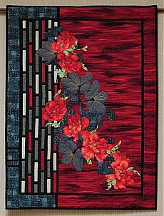 """Quilt """"Nature And Geometry Embrace"""" by Helen Fujiki Asian Quilts, Modern Quilting Designs, Landscape Art Quilts, Flower Quilts, Art Textile, Contemporary Quilts, Panel Quilts, Quilted Wall Hangings, Small Quilts"""