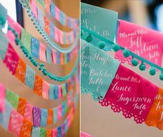 Papel Picado wedding Escort Cards