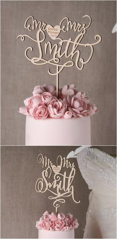 Rustic country real wood laser cut wedding cake topper @4LOVEPolkaDots
