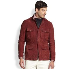 ISAIA Suede Field Jacket ($1,505) ❤ liked on Polyvore featuring men's fashion, men's clothing, men's outerwear, men's jackets, apparel & accessories, maroon, mens suede jacket and mens suede leather jacket